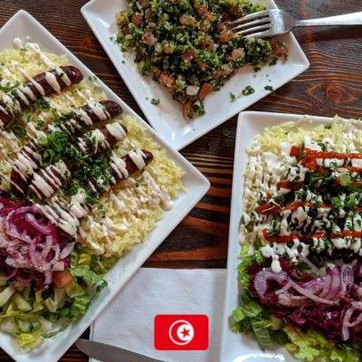 Plates at La Goulette, Williamsburg, Brooklyn food