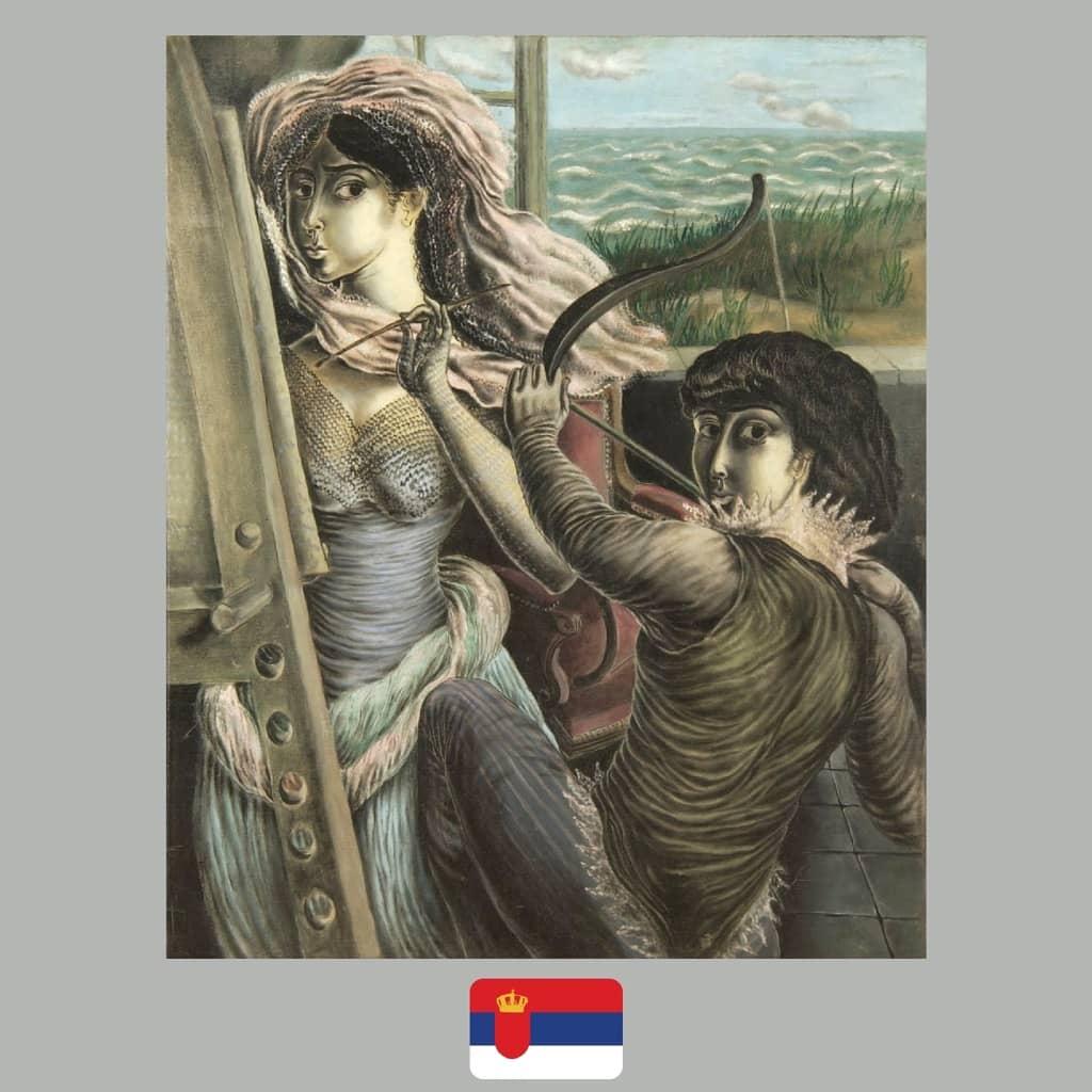 Milena Pavlović-Barili, Autoportrait with an archer, review