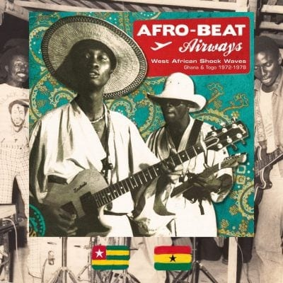 Afro-Beat Airways, West African Shock Waves: Ghana and Togo music album cover, two musicians with guitars
