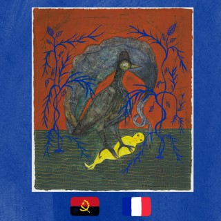 Franck Lundangi art painting of a bird eating a man