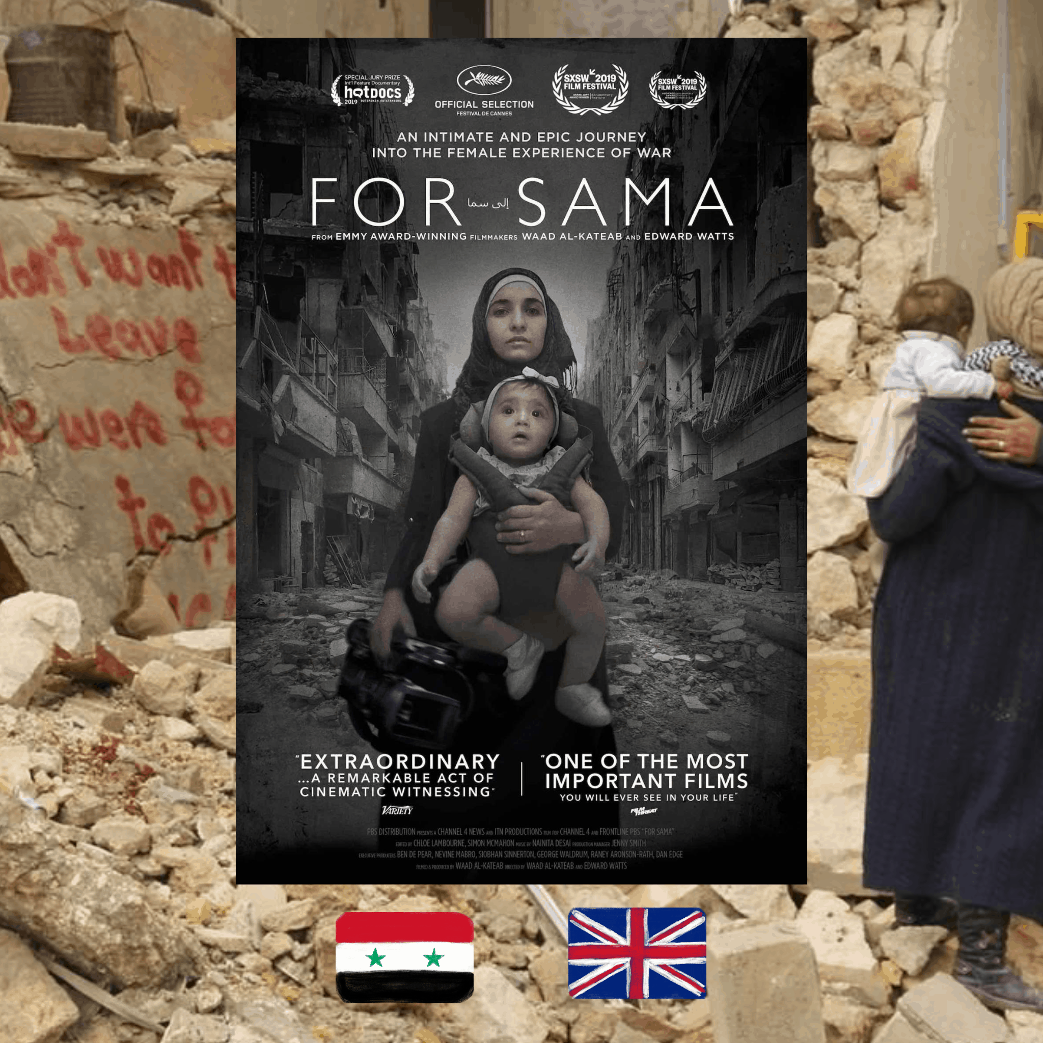 Waad Al-Kateab and Edward Watts, For Sama movie poster