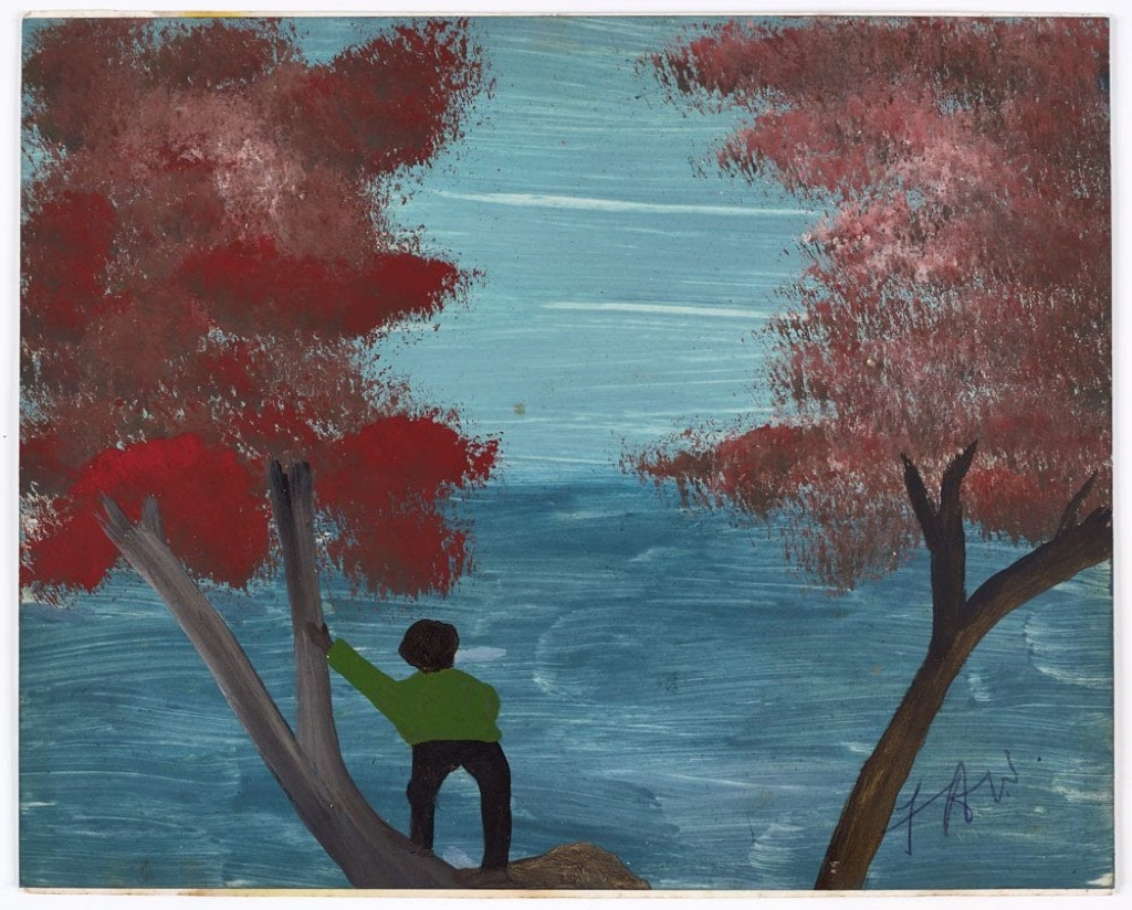 Frank Walter, Outsider Art, Painting, autumn, red trees