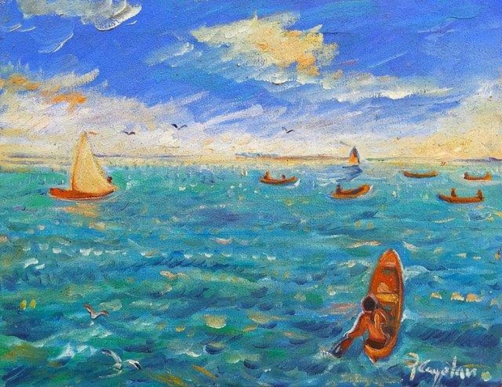 Pen Cayetano painting of blue sea and boats