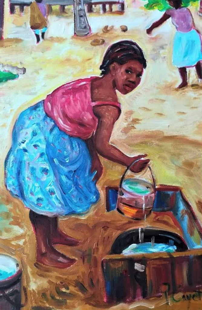 Pen Cayetano Painting woman washing cloth in river
