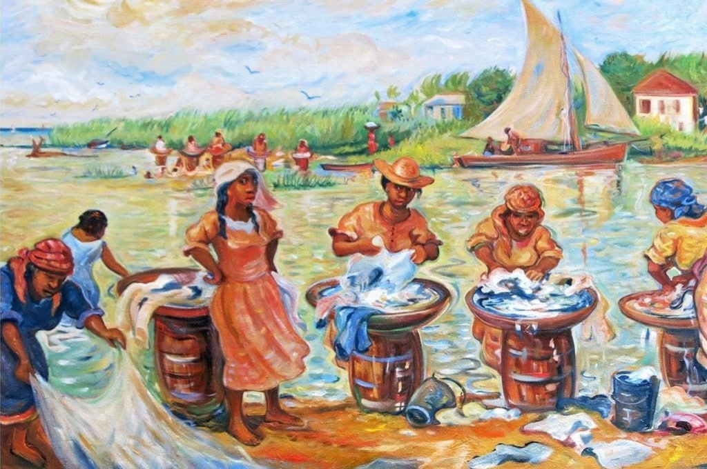 Pen Cayetano Painting women washing cloth in river