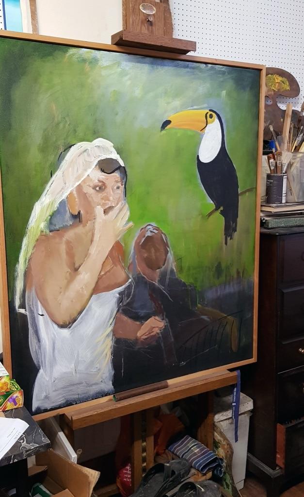 Patrick Barrington, painting, woman and tucan