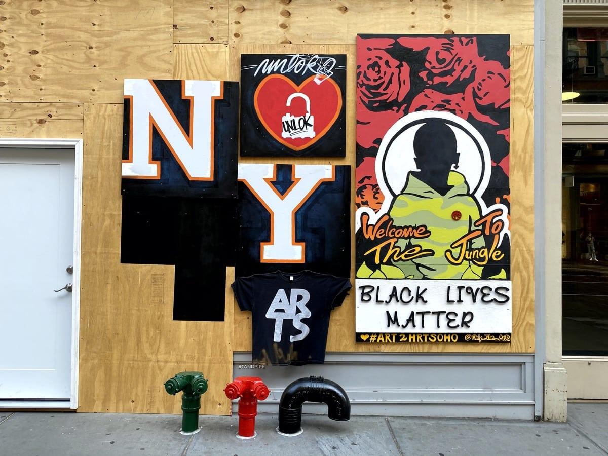 soho protest art, art in soho, blm art
