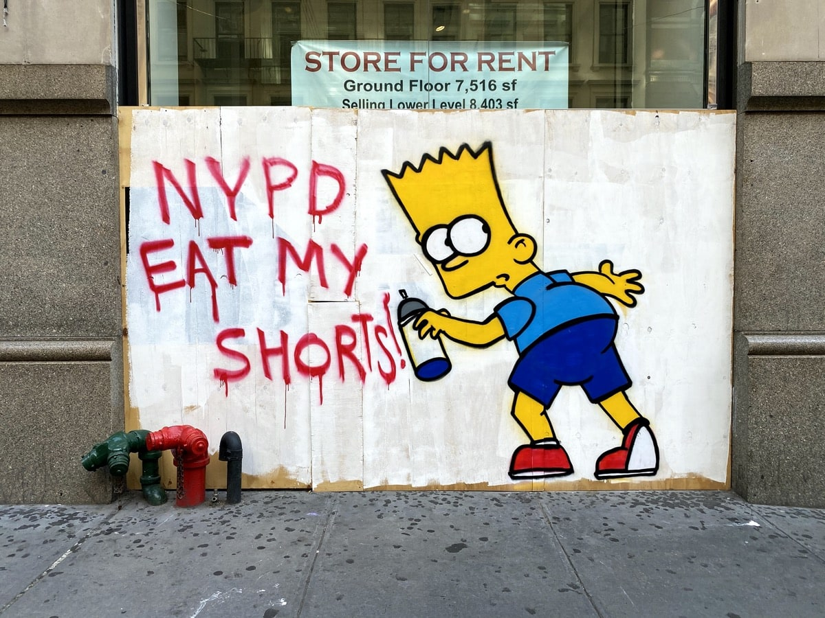 soho protest art, art in soho, blm art, bart simpson